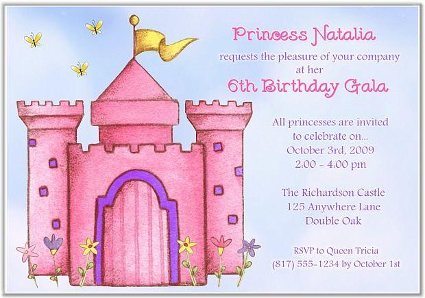 princess castle birthday party invitations princess kids