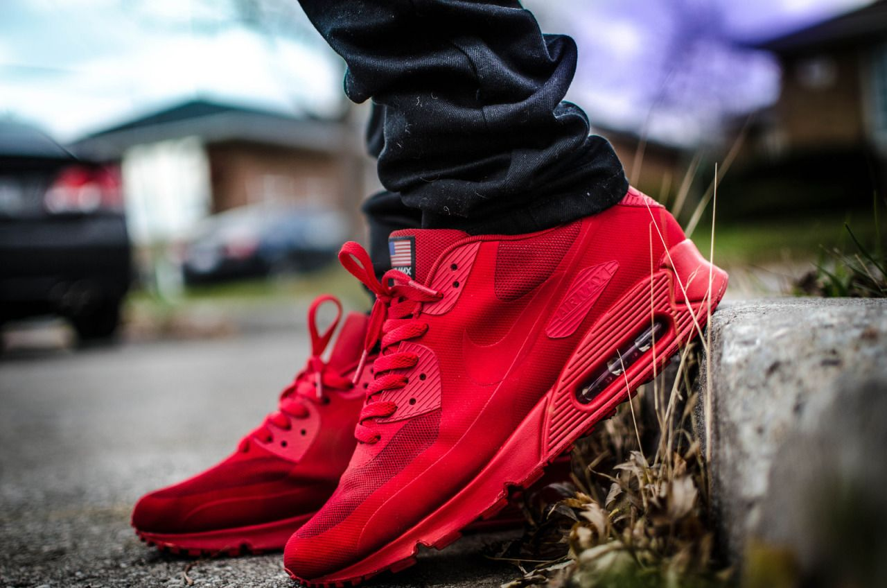 womens air max 90 hyperfuse red grey