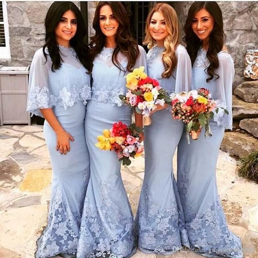 Light blue bridesmaid dresses with wraps lace appliques mermaid light blue bridesmaid dresses with wraps lace appliques mermaid bridesmaid gowns floor length formal party dresses ombrellifo Images