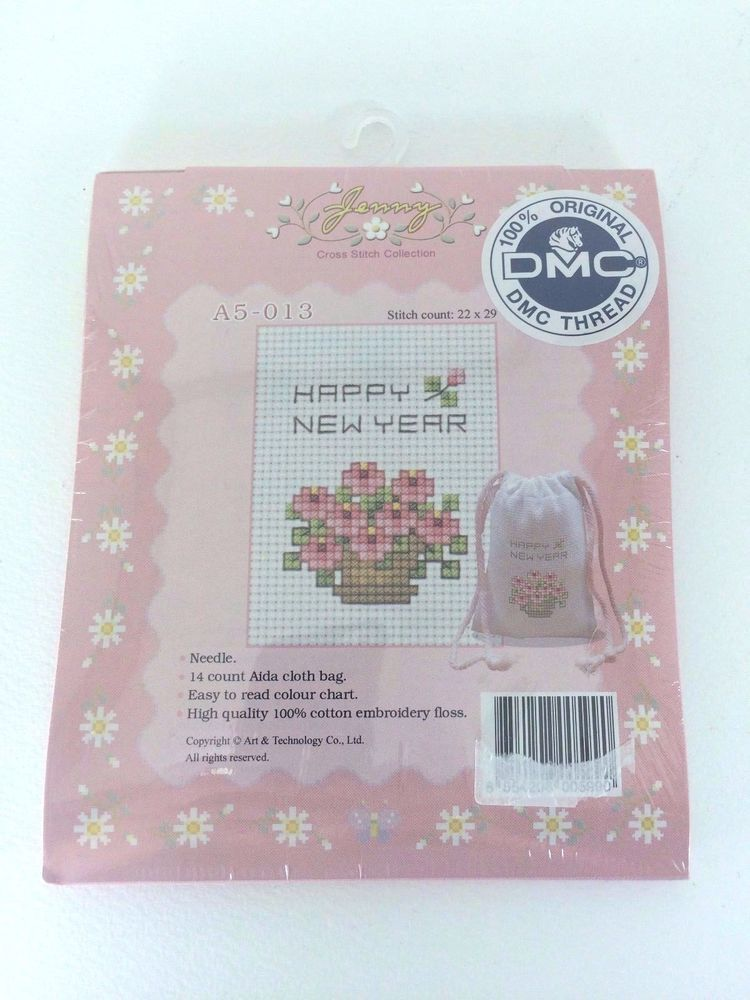 Happy New Year Flowers Basket/ Counted Cross Stitch Kit Gift Bag DIY