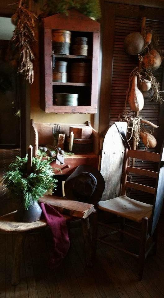 Primitive christmas primitive decor country christmas homestead cupboards primitives cottages farmhouse closets