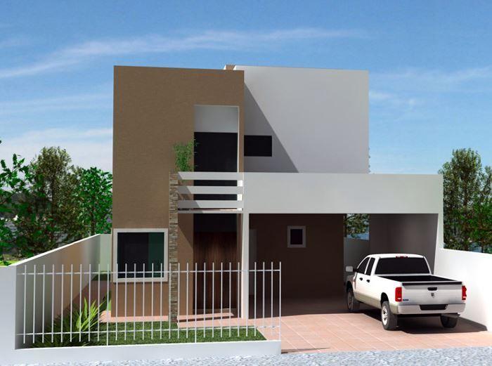 Diseños de cocheras abiertas para casas de dos pisos Fachadas