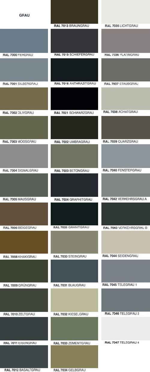 Ubersicht Ral Farben Farben Fassade Ral Ubersicht Porches In