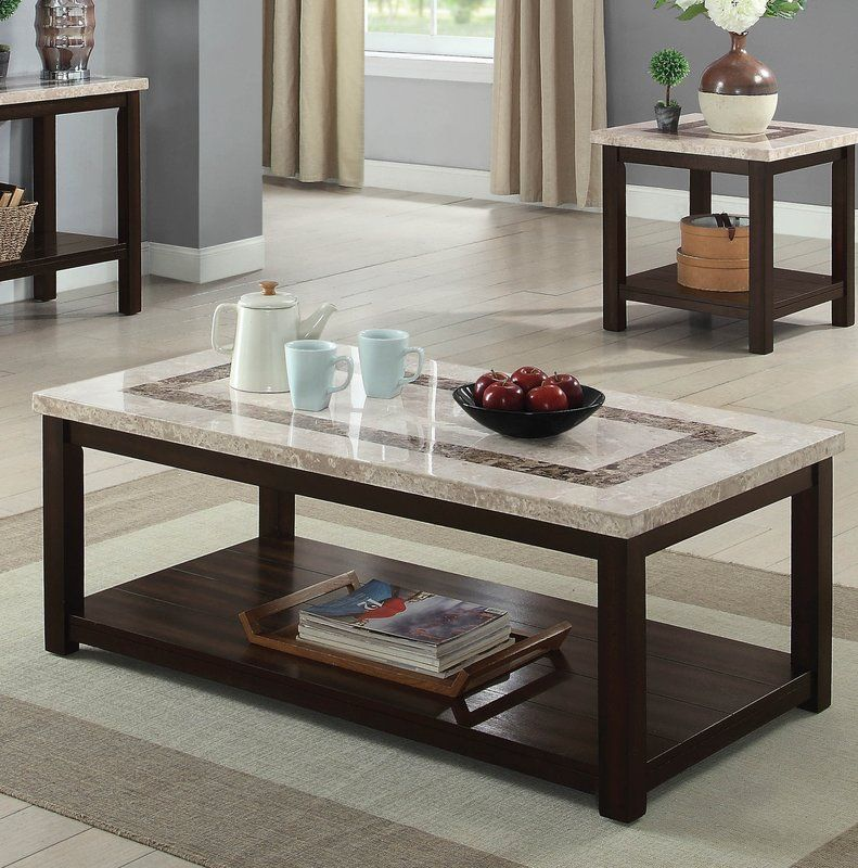 Caspar coffee table with storage marble top coffee table