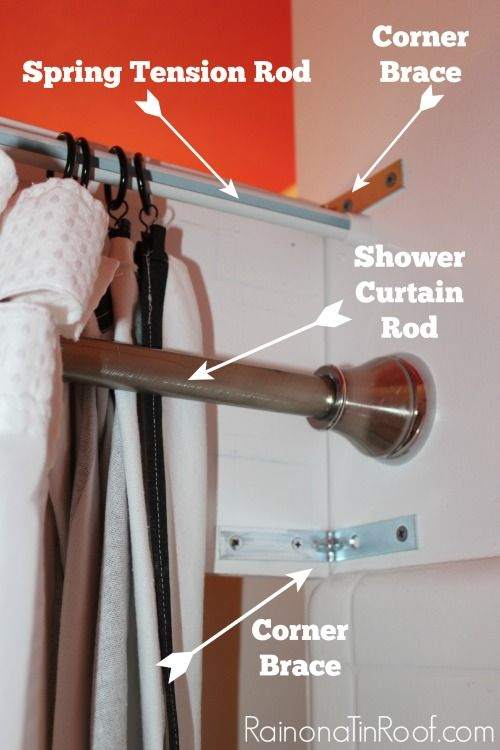 DIY Shower Cornice with Black & White Shower Curtains | Curtain ...