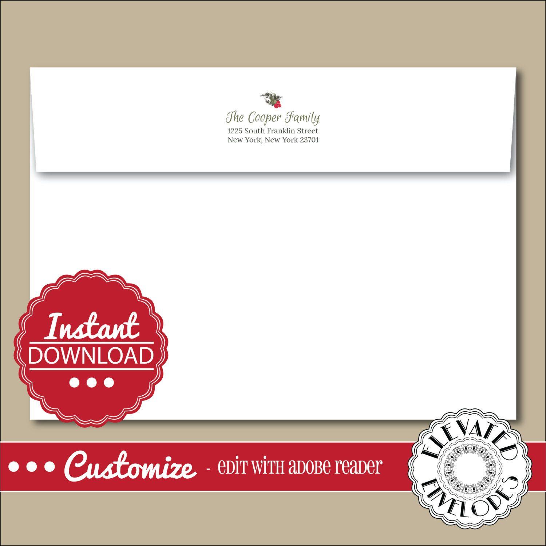 EDITABLE Christmas ENVELOPE Template,Christmas Envelope ADDRESSING ...
