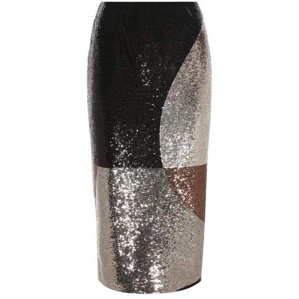 Tom Ford Sequinned Pencil Skirt (€4.715) ❤ liked on Polyvore featuring skirts, silver, silver skirts, silver sequin skirt, multi colored skirt, colorful pencil skirt and pencil skirts