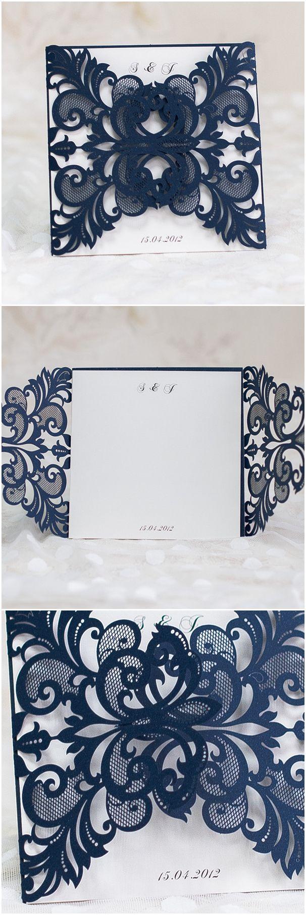 navy blue laser cut pocket wedding invitations EWWS032 ...