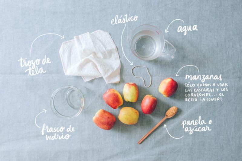 Ingredientes para el vinagre de manzana
