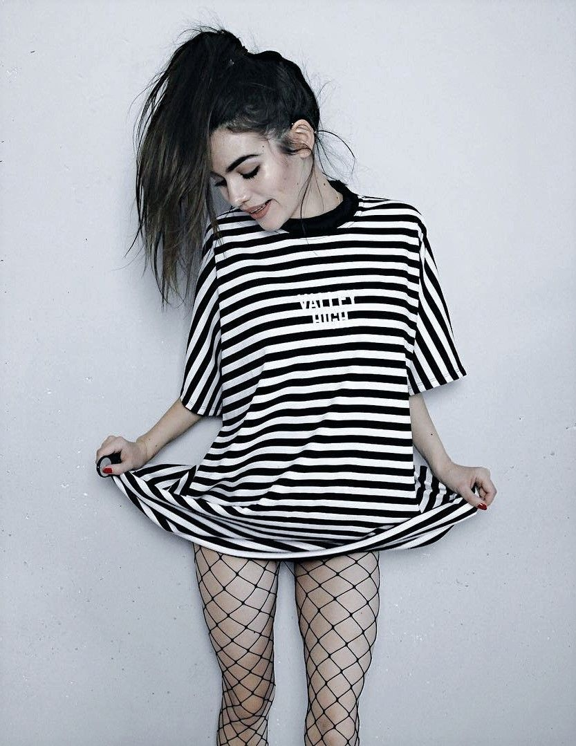 97cf76c444c Long striped shirt with oversized fishnet tights by  frankiemiles