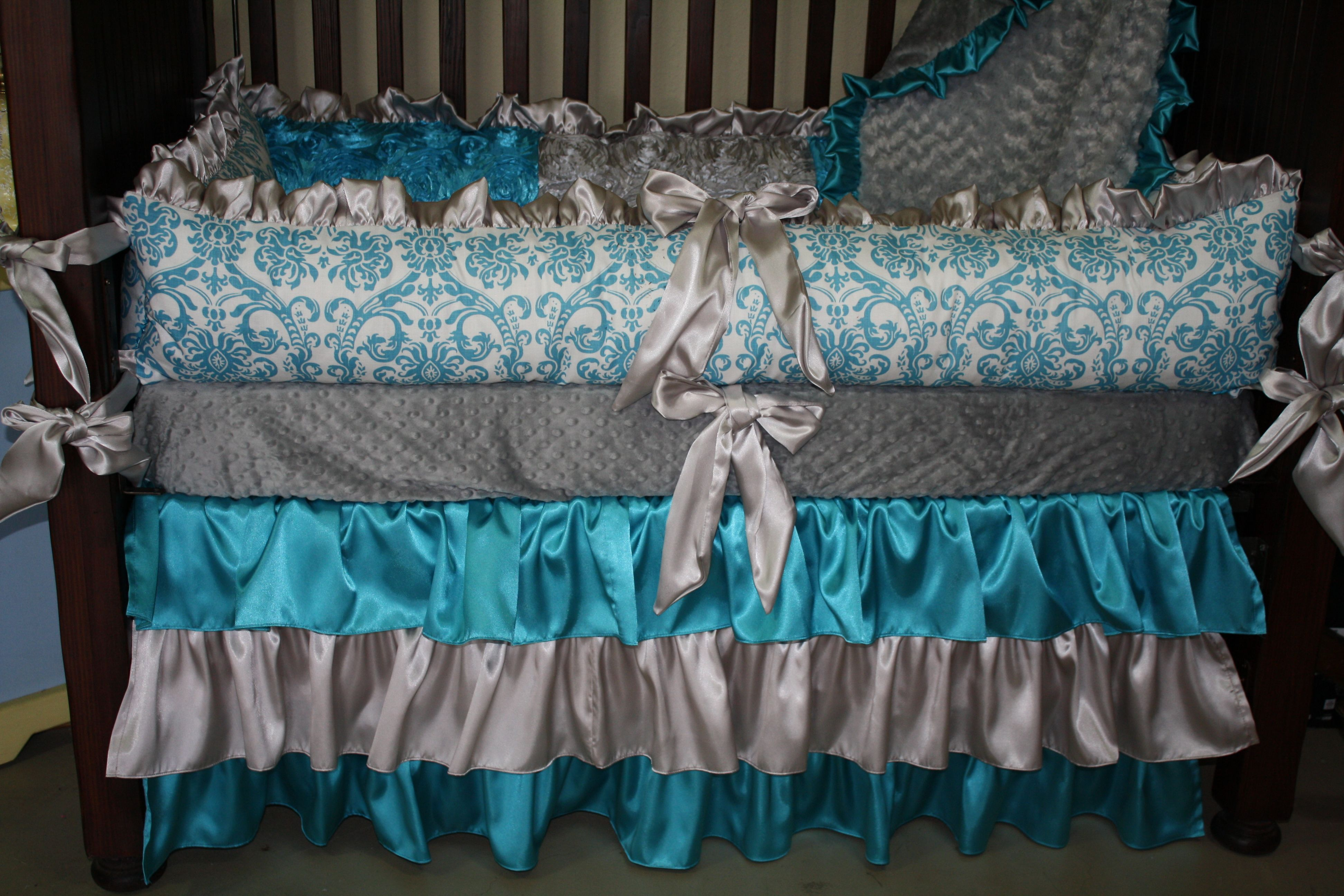 Elegant turquoise and gray crib bedding Crib bedding boy