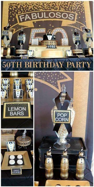 Basica y elegante decoracion de 50 a os para hombre for Decoracion con globos 50 anos