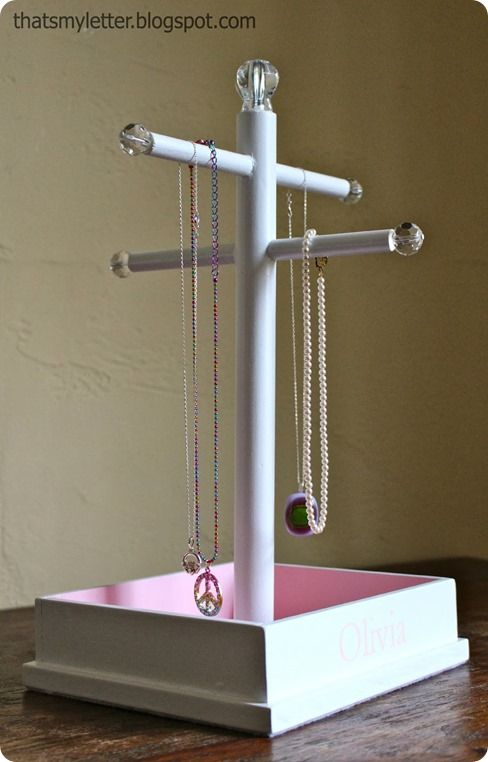 DIY Jewelry Stand from Scrap Wood {Pottery Barn Kids inspired}