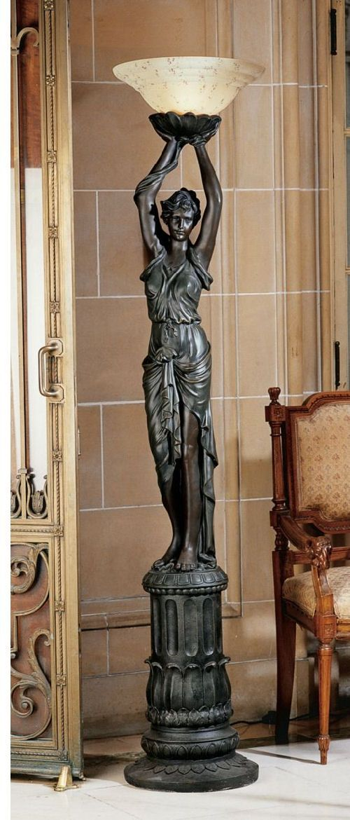 Empire Style Woman Torchiere Lamp Sculpture Torchiere