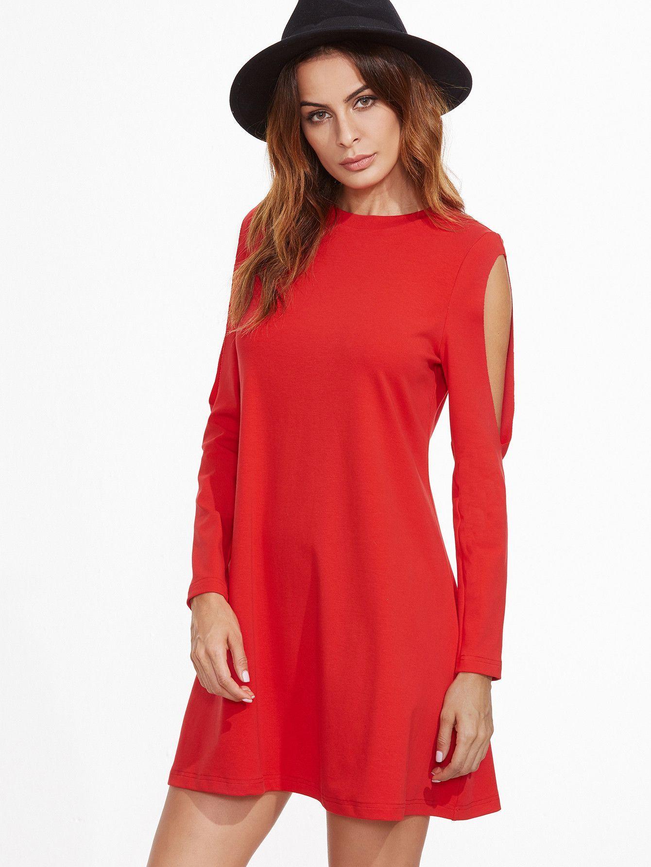 Red crew neck long sleeve dress pinterest sleeved dress fall
