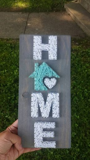 Small Home String Art, Home is where the heart is, home decor, home sign, custom decor #craftstosell