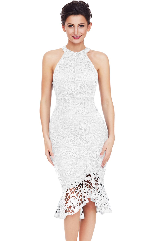18c747c3f5f White Sleeveless Lace Fishtail Bodycon Dress | Evening Dresses ...