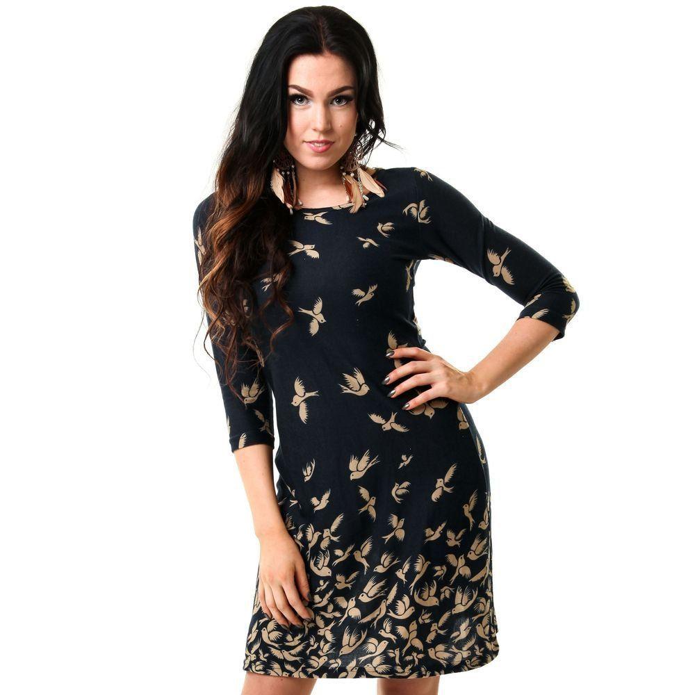 Innocent Lifestyle Kleid - Goldene Schwalben Dunkelblau | Dresses ...