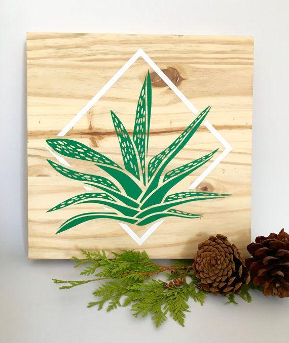 Wood Wall Art, Aloe Plant Painting, Modern Aloe Plant, Aloe Home ...