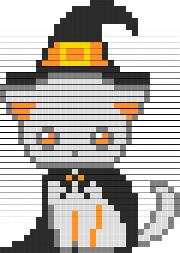 Spooky Kitten Witch Perler Bead Pattern / Bead Sprite Minecraft Pixel Art  Grid Maker Anime Ideas
