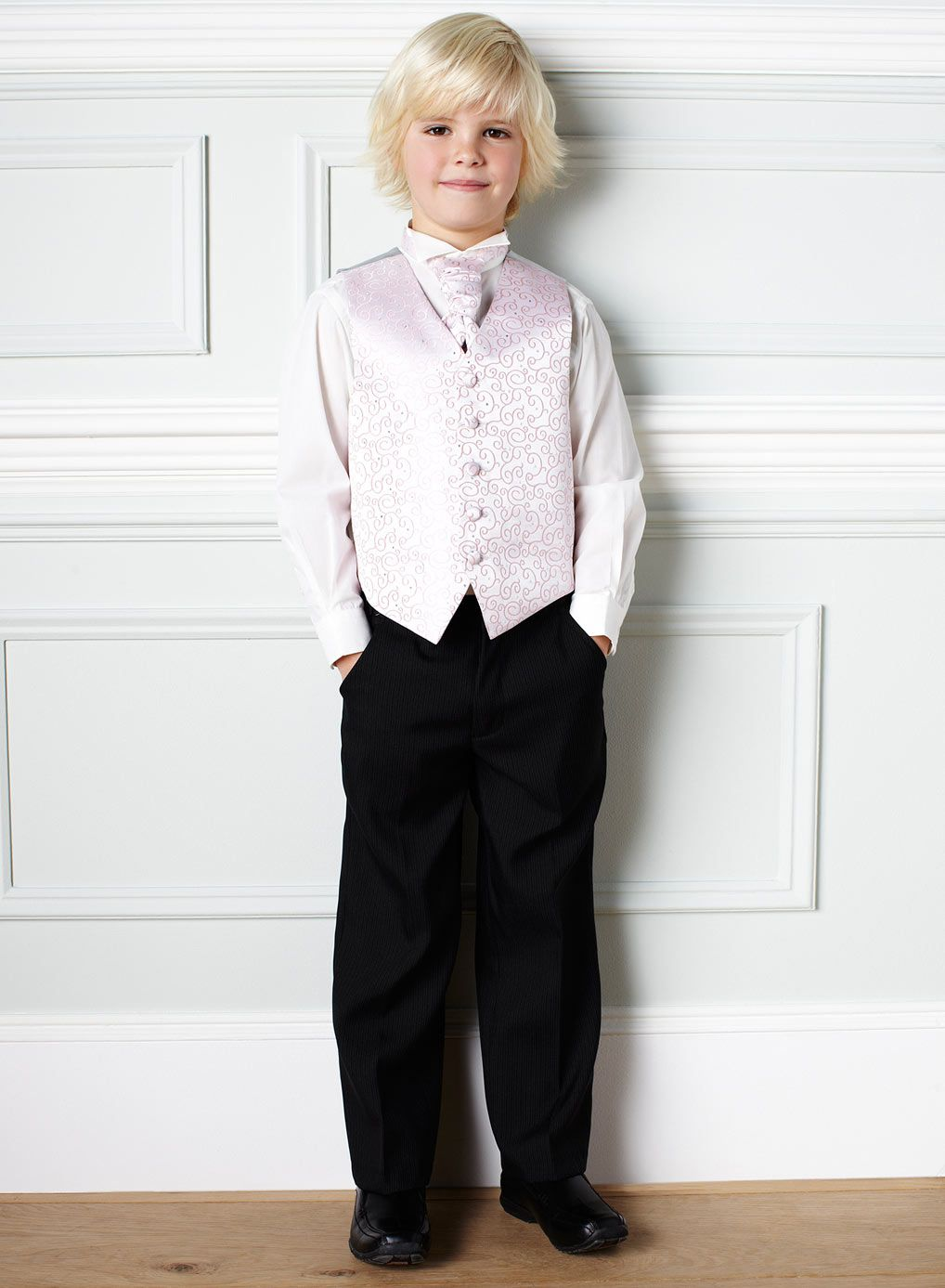 Wing Collar Shirt Dusky Pink Waistcoat And Matching Cravat With