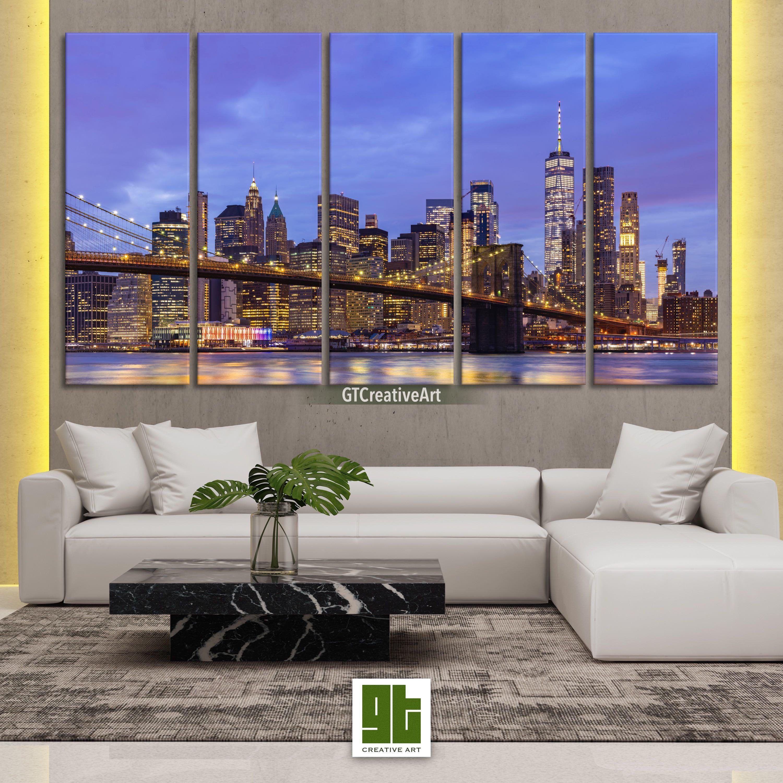 New York Brooklyn Bridge Sunset MULTI CANVAS WALL ART Framed Panel