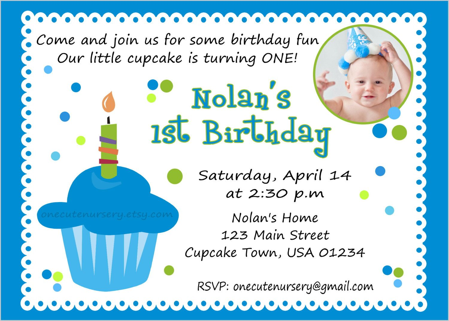 Sweet Little Cupcake Boy Birthday Babys First Birthday – Birthday Invite Quotes