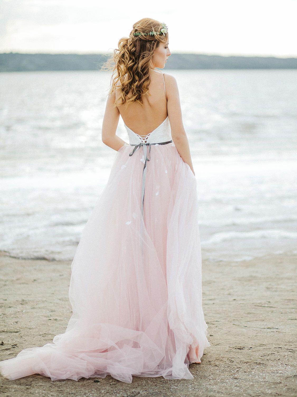 Blush wedding dress floral wedding dress boho wedding dress