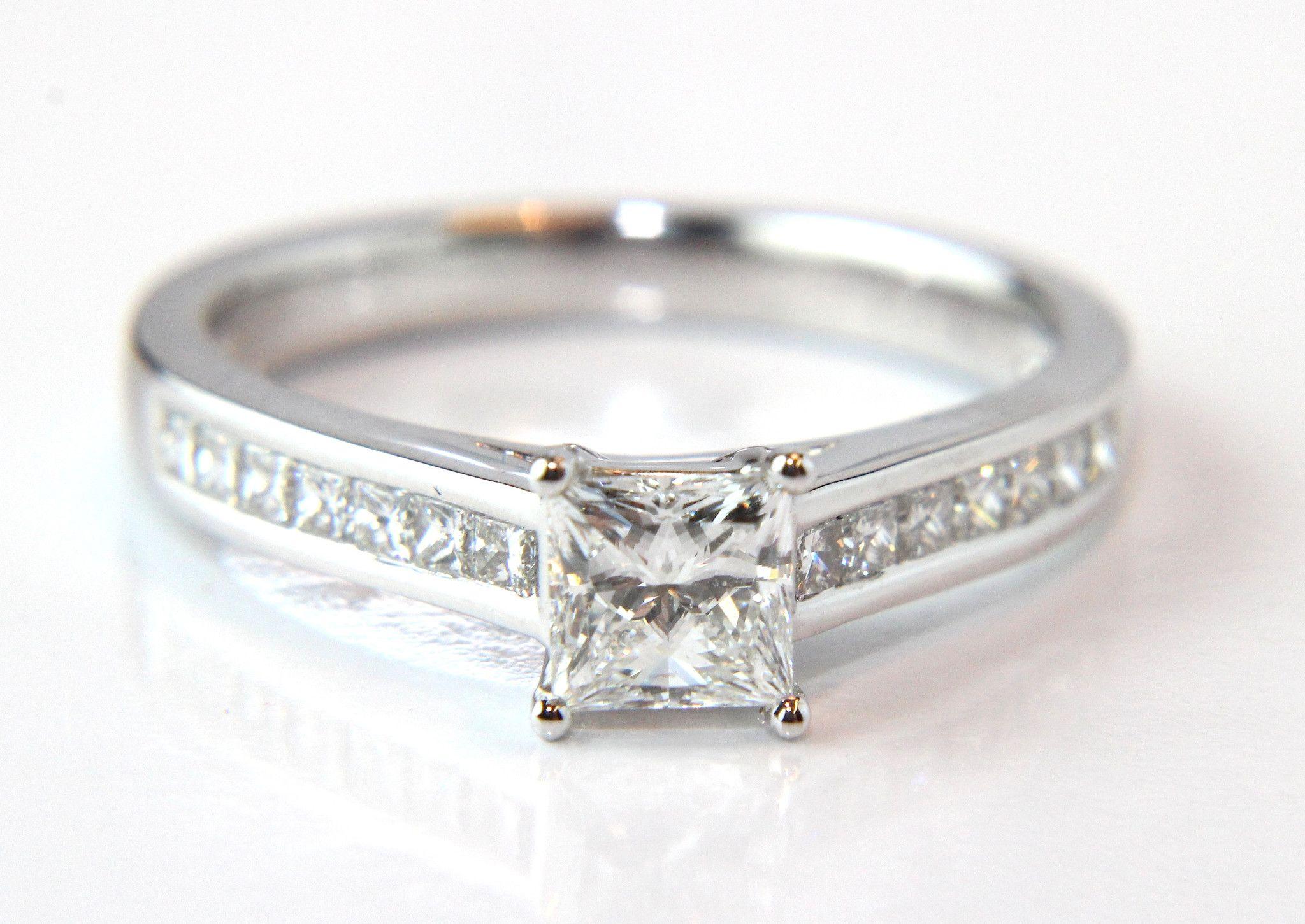 Campbell certified princess cut channel shoulders diamond engagement