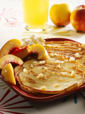 Fluffy Vanilla Pancakes with Sliced White South African Nectarines and Honey Drizzle Recipe at MyDish