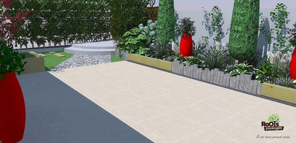 Aménagement d\'un jardin avec des vivaces blanches et cyprès qui ...