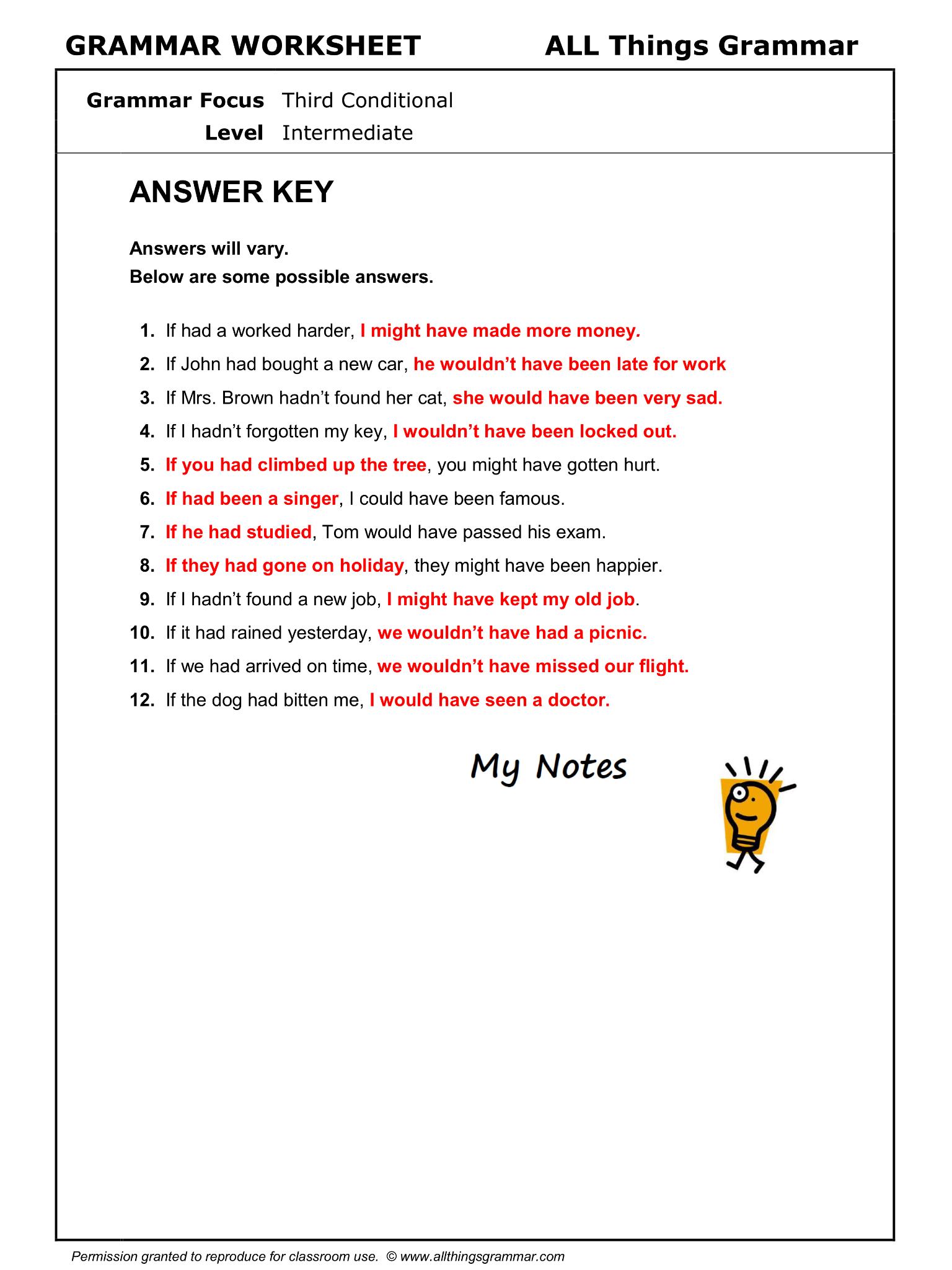 English Grammar Worksheet Third Conditional 2 2