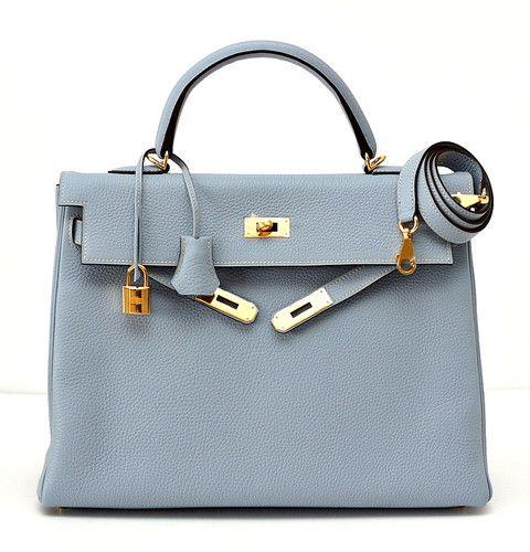 hermes kelly 35 supple bag bleu lin gold hardware beautiful new color purses pinterest. Black Bedroom Furniture Sets. Home Design Ideas