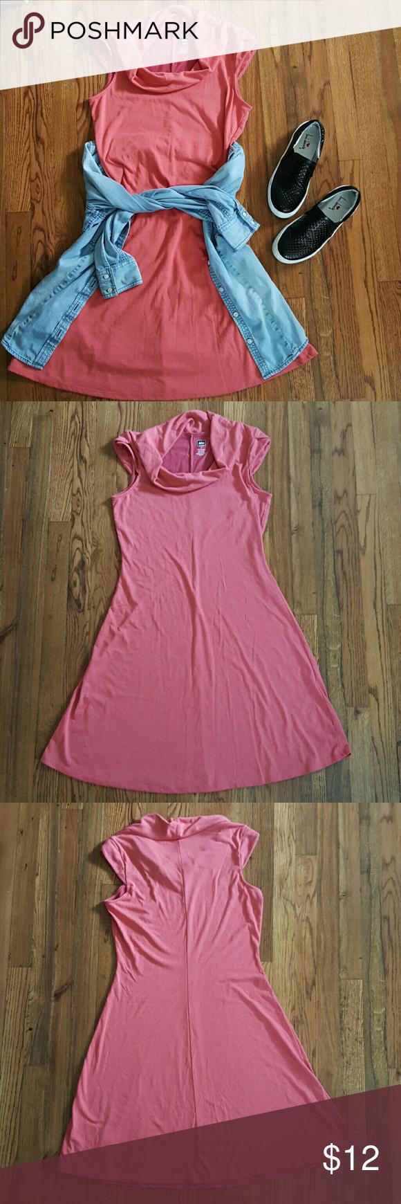 Rei pink short sleeve cowl neck tshirt dress pink shorts cowl