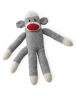 Traditional sock monkey with style. This little guy is fun and easy to knit in Patons Classic Wool.