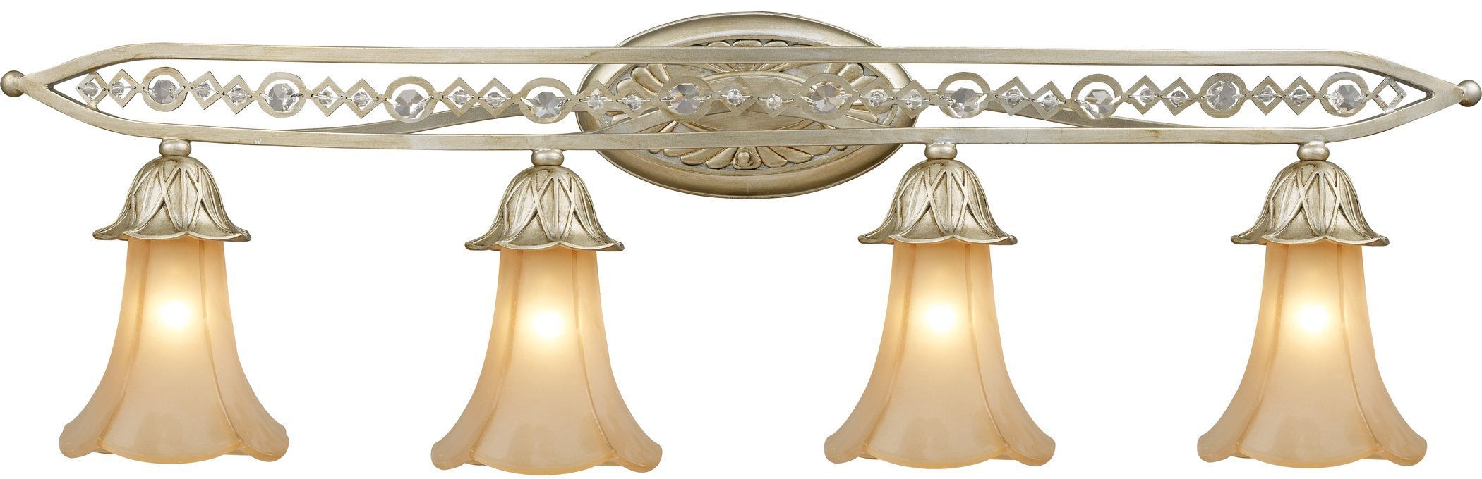 "ELK Lighting 3822/4 Chelsea 4 Light 39"" Vanity Fixture with Frosted Glass Shade Aged Silver Indoor Lighting Bathroom Fixtures Vanity Light"