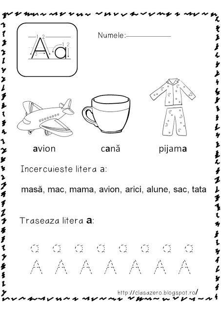 Clasa Pregatitoare Fise De Lucru Sunetul Si Litera A Alphafabet