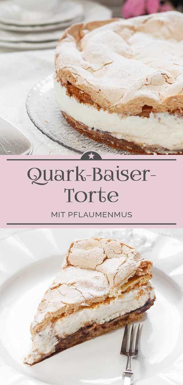 Quark-Baiser-Torte mit Pflaumenmus - Eine kleine Prise Anna