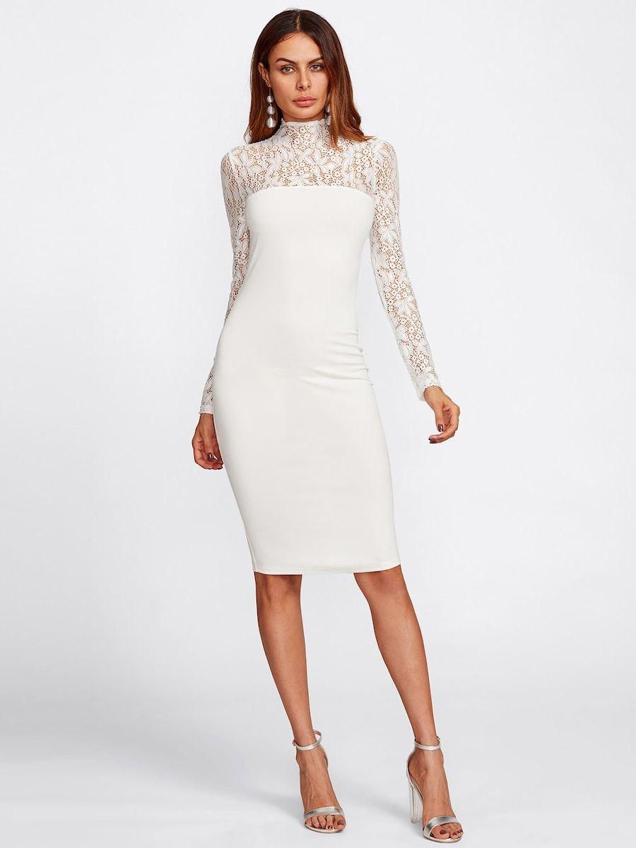 7e26e53036 Floral Lace Yoke And Sleeve Form Fitting Dress -SHEIN(SHEINSIDE ...