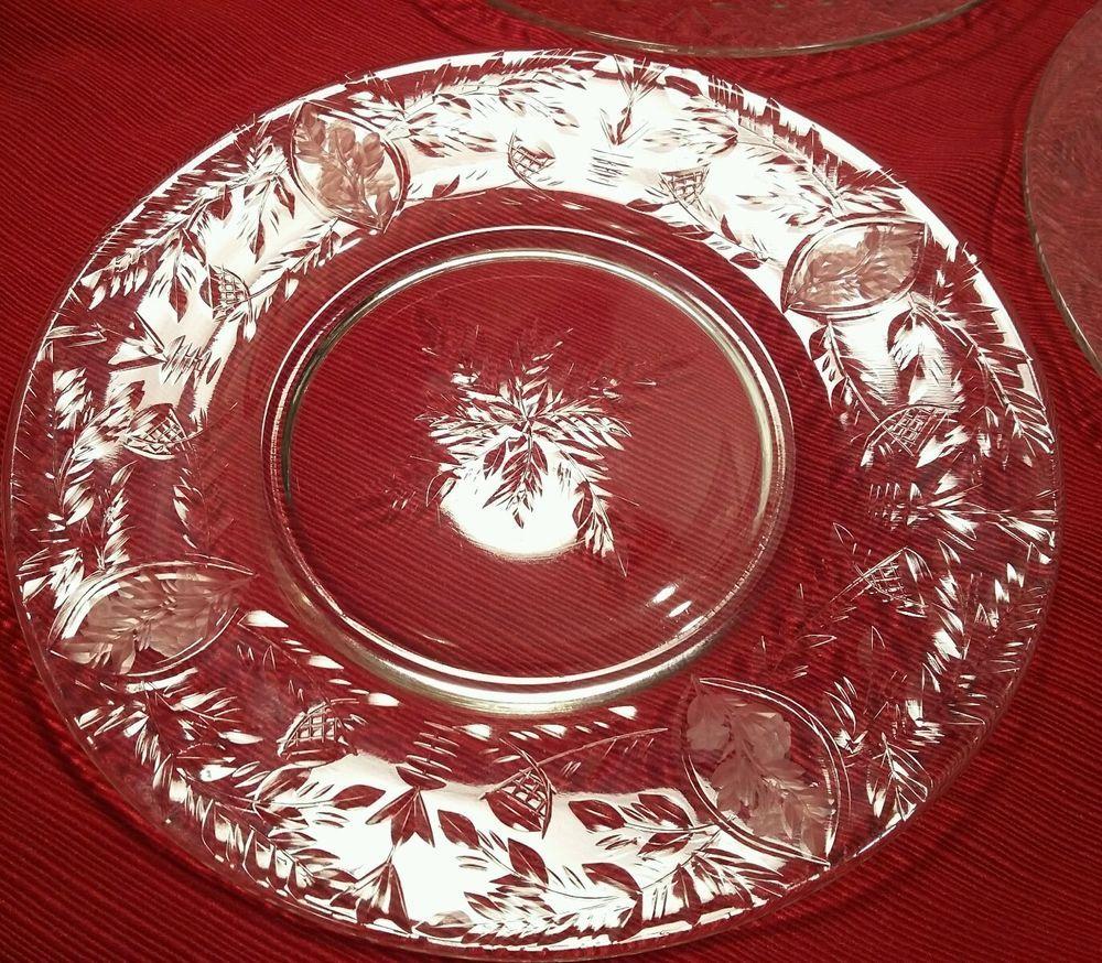 6 Libbey Rock Sharpe 1937 Knickerbocker Pattern 8 Inch Plates Glassware Plates Libbey