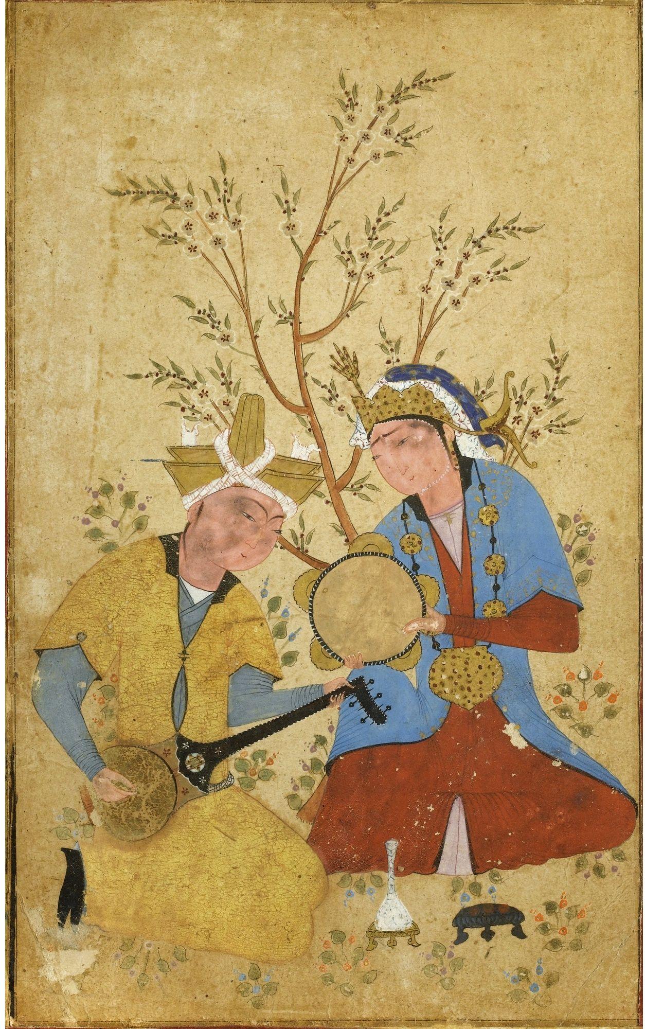Dva Muzykanta Pod Derevom Ok 1550 Chastnoe Sobranie Two Musicians Seated Under A Flowering Tree C 1550 Private Collection Usa Cizim Tezhip Sanat