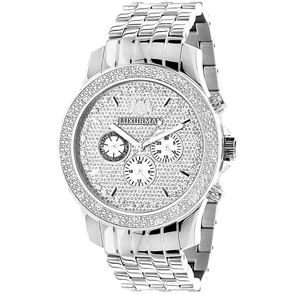 Luxurman Men's 1/4ct Diamonds Wrist Watch with Metal Band and Extra Straps