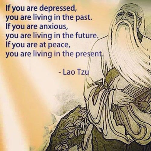 Not sure i agree with the last sentence ...living in the present doesn't mean everything is fine and dandy, but good quote nonetheless.