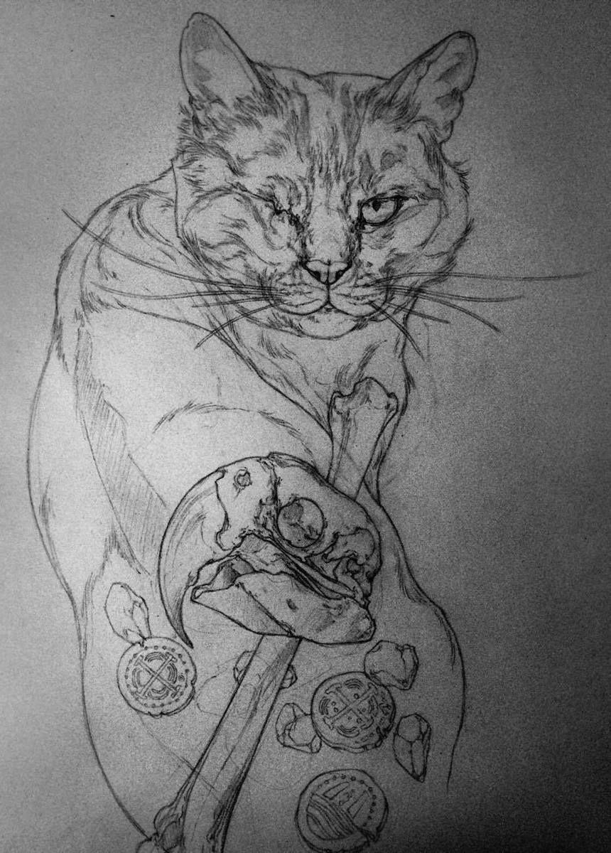 Черно белый эскиз тату с цветами: Черно-белый эскиз тату с котом