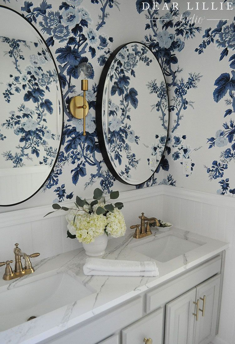 The Girls Bathroom Reveal Room Wallpaper Bathroom Wallpaper