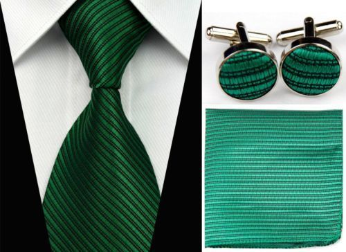 Green And Black Striped Men s Tie Cufflinks Hanky Handkerchief Set great gift