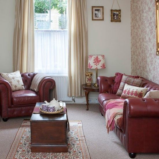 Be Inspired By This Victorian Terrace Ideal Home Red Leather Sofa Living Room Chesterfield Sofa Living Room Cottage Living Rooms