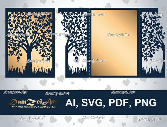 Gate Fold 5x7 Wedding Invitation Card Laser Cut Template