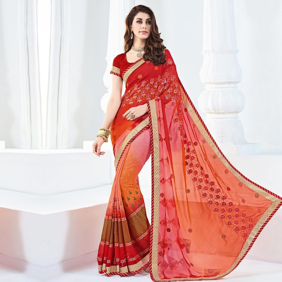 Buy Multi Color Resham Work Designer Saree For Womens Online India Best Prices Reviews Peachmode Saree Models Saree Designs Designer Saree Blouse Patterns