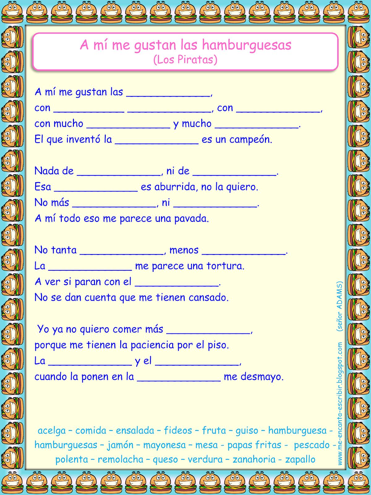 Me Encanta Escribir En Espanol Cancion A Mi Me Gustan La Hamburguesas Los Piratas